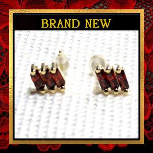 Red Crystal Stud Earrings #473